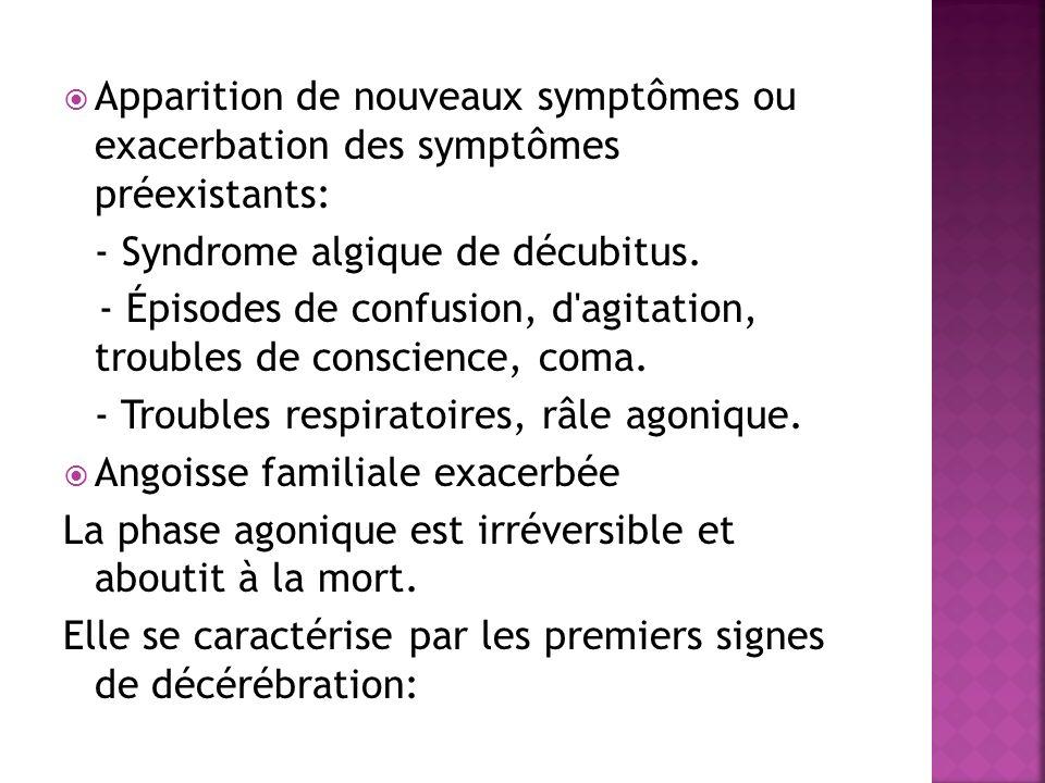 Apparition de nouveaux symptômes ou exacerbation des symptômes préexistants: - Syndrome algique de décubitus. - Épisodes de confusion, d'agitation, tr