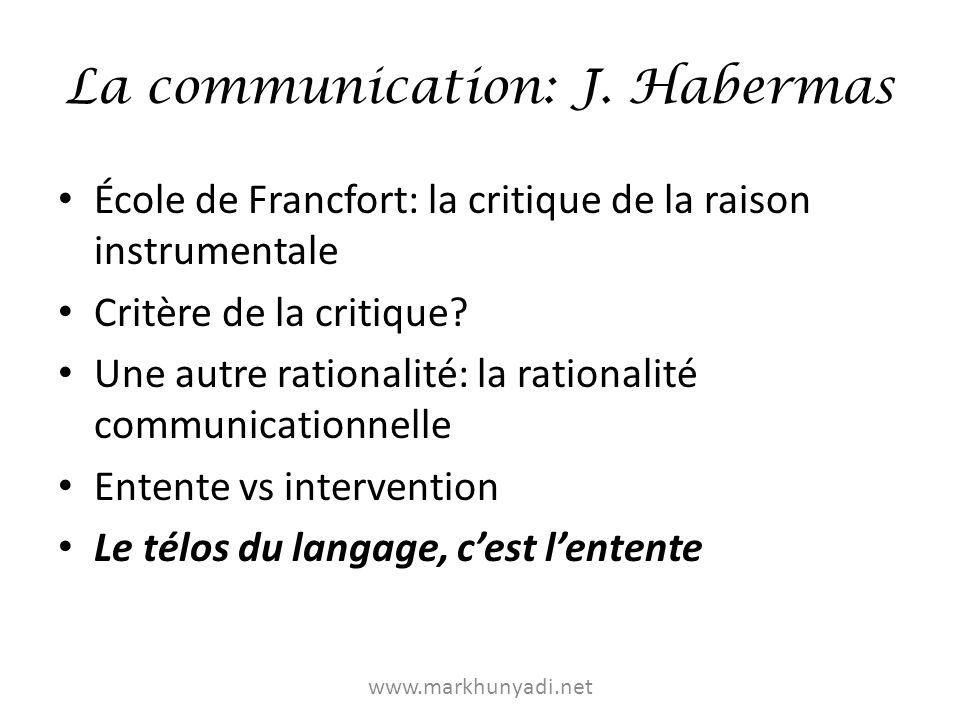 La communication: J. Habermas École de Francfort: la critique de la raison instrumentale Critère de la critique? Une autre rationalité: la rationalité