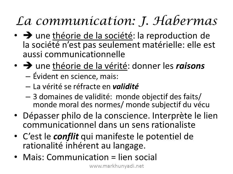 La communication: J. Habermas une théorie de la société: la reproduction de la société nest pas seulement matérielle: elle est aussi communicationnell