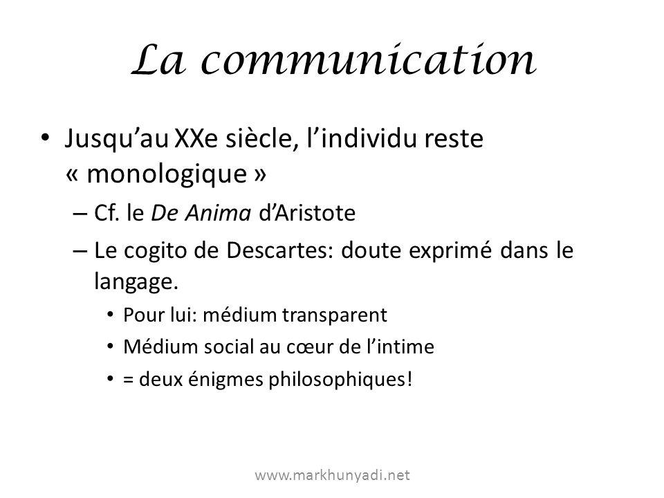 La communication Jusquau XXe siècle, lindividu reste « monologique » – Cf. le De Anima dAristote – Le cogito de Descartes: doute exprimé dans le langa