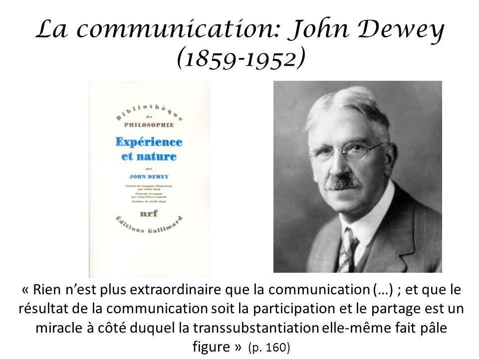 La communication: John Dewey Langage: – Les choses deviennent pourvues de signification – On entre en communication: tout devient public révision, critique, enseignement, transmission: « Une fois quils sont nommés, les événements mènent une vie indépendante et double.