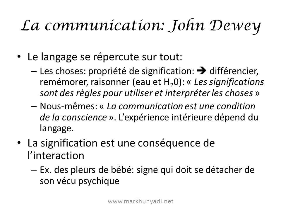 La communication: John Dewey Ex: Montrer un objet: – Comprendre le montrer – Voir lobjet en fonction de celui qui le montre Essence de la communication: – « une chose est rendue commune pour au moins deux centres différents de comportement.