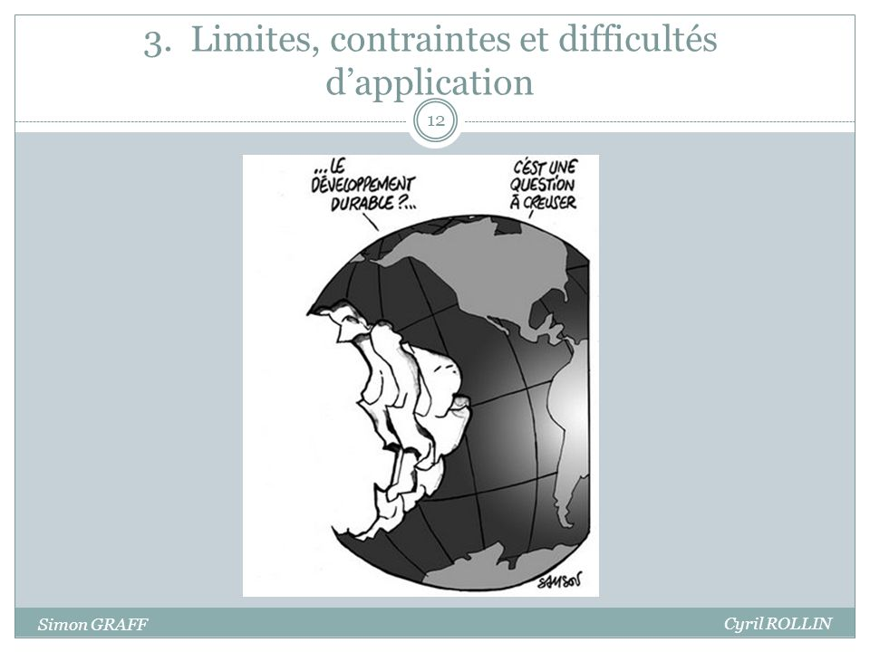 3. Limites, contraintes et difficultés dapplication 12 Simon GRAFF Cyril ROLLIN