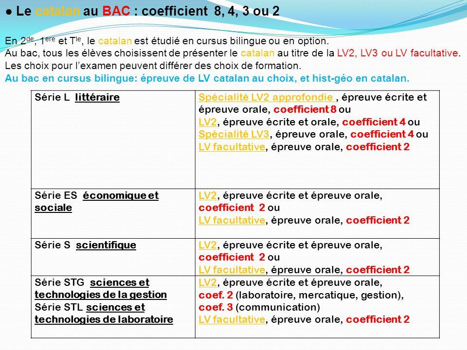 Série L littéraireSpécialité LV2 approfondie, épreuve écrite et épreuve orale, coefficient 8 ou LV2, épreuve écrite et orale, coefficient 4 ou Spécial