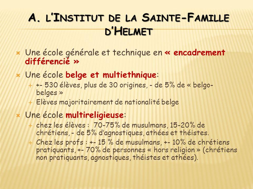 A. L I NSTITUT DE LA S AINTE -F AMILLE D H ELMET Une école générale et technique en « encadrement différencié » Une école belge et multiethnique: +- 5