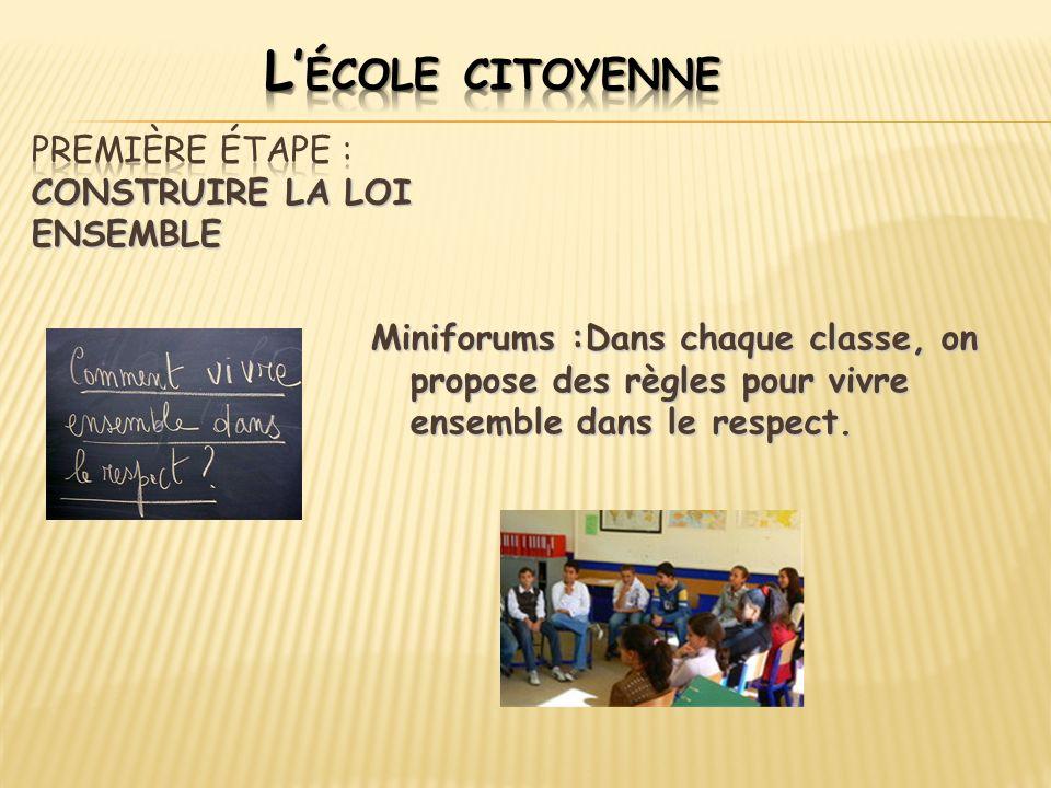 Miniforums :Dans chaque classe, on propose des règles pour vivre ensemble dans le respect.