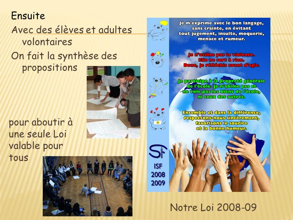 Notre Loi 2008-09 Ensuite Avec des élèves et adultes volontaires On fait la synthèse des propositions pour aboutir à une seule Loi valable pour tous