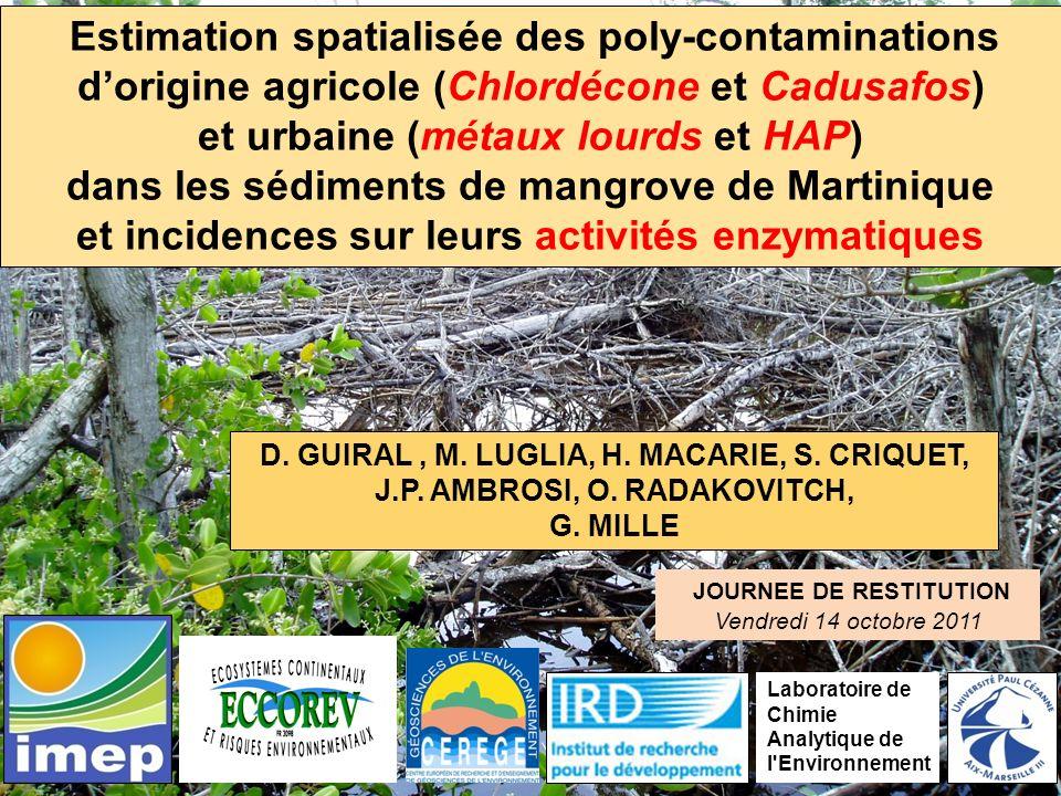 Poly-contamination des sols de mangrove 28 stations Mangrove de la presquîle de la Caravelle Mangrove de la Baie du Robert Mangrove des Salines de St Anne Mangrove de la Baie des Anglais Mangrove de la Baie de Fort de France et de Génipa