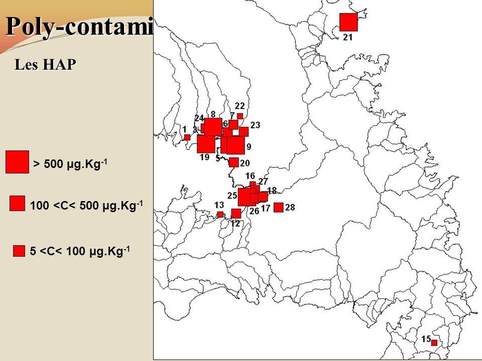 Poly-contamination des sols de mangrove Les HAP > 500 µg.Kg -1 100 <C< 500 µg.Kg -1 5 <C< 100 µg.Kg -1