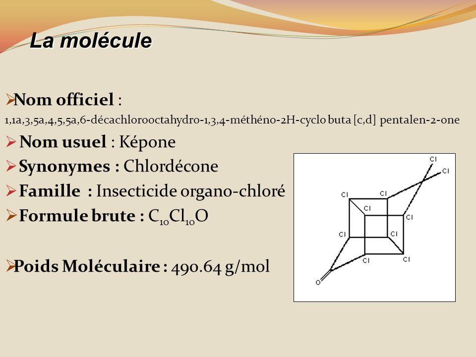 Nom officiel : 1,1a,3,5a,4,5,5a,6-décachlorooctahydro-1,3,4-méthéno-2H-cyclo buta [c,d] pentalen-2-one Nom usuel : Képone Synonymes : Chlordécone Fami