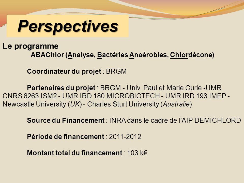 Perspectives Le programme ABAChlor (Analyse, Bactéries Anaérobies, Chlordécone) Coordinateur du projet : BRGM Partenaires du projet : BRGM - Univ. Pau