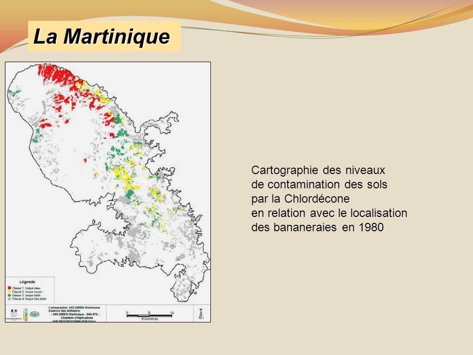 La Martinique Cartographie des niveaux de contamination des sols par la Chlordécone en relation avec le localisation des bananeraies en 1980
