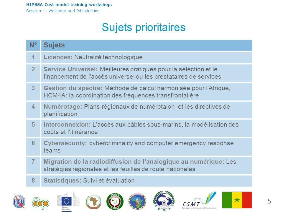 HIPSSA Cost model training workshop: Session 1: Welcome and Introduction Étude d évaluation sur l audit réglementaire et la modélisation des coûts dans lAfrique Sub- Saharienne Appui à l harmonisation des politiques des TIC en Afrique sub-saharienne 6