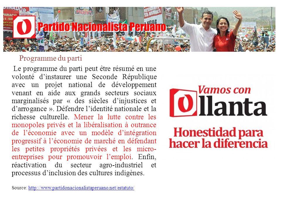 Histoire du PNPOllanta Humala Le PNP naît comme une alternative politique en 2005 dans le noyau familial du commandant Ollanta Humala et de son épouse Nadine Heredia, les deux membres fondateurs.
