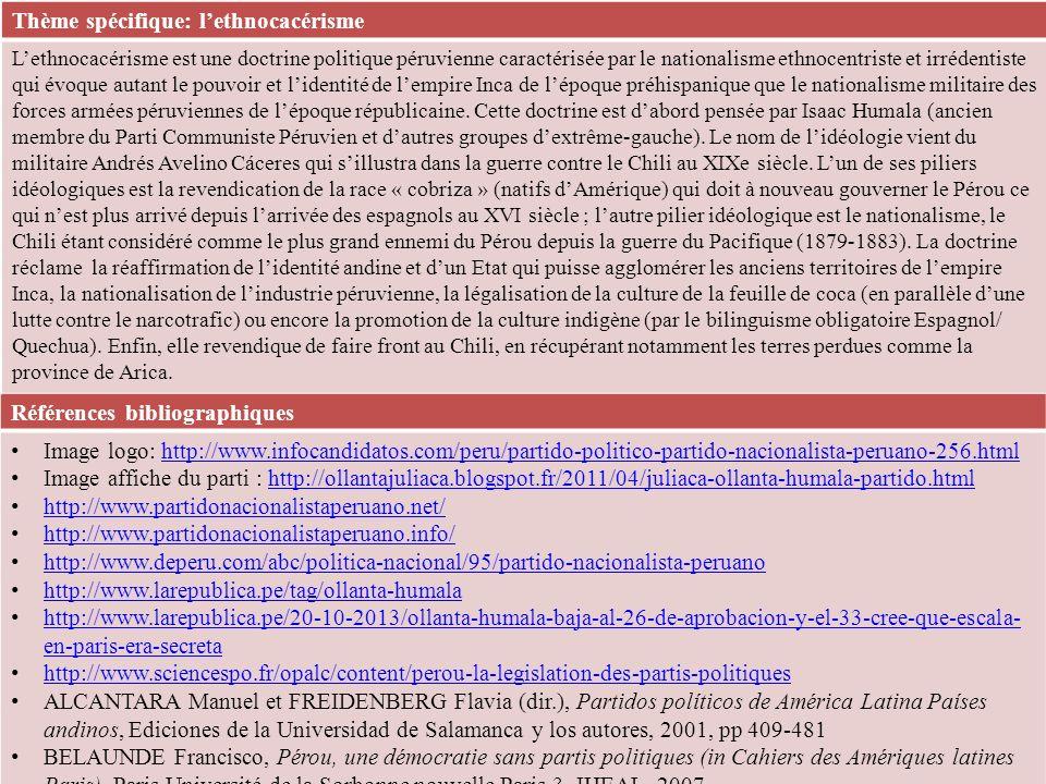 Références bibliographiques Image logo: http://www.infocandidatos.com/peru/partido-politico-partido-nacionalista-peruano-256.htmlhttp://www.infocandidatos.com/peru/partido-politico-partido-nacionalista-peruano-256.html Image affiche du parti : http://ollantajuliaca.blogspot.fr/2011/04/juliaca-ollanta-humala-partido.htmlhttp://ollantajuliaca.blogspot.fr/2011/04/juliaca-ollanta-humala-partido.html http://www.partidonacionalistaperuano.net/ http://www.partidonacionalistaperuano.info/ http://www.deperu.com/abc/politica-nacional/95/partido-nacionalista-peruano http://www.larepublica.pe/tag/ollanta-humala http://www.larepublica.pe/20-10-2013/ollanta-humala-baja-al-26-de-aprobacion-y-el-33-cree-que-escala- en-paris-era-secreta http://www.larepublica.pe/20-10-2013/ollanta-humala-baja-al-26-de-aprobacion-y-el-33-cree-que-escala- en-paris-era-secreta http://www.sciencespo.fr/opalc/content/perou-la-legislation-des-partis-politiques ALCANTARA Manuel et FREIDENBERG Flavia (dir.), Partidos políticos de América Latina Países andinos, Ediciones de la Universidad de Salamanca y los autores, 2001, pp 409-481 BELAUNDE Francisco, Pérou, une démocratie sans partis politiques (in Cahiers des Amériques latines Paris), Paris Université de la Sorbonne nouvelle Paris 3, IHEAL, 2007 Thème spécifique: lethnocacérisme Lethnocacérisme est une doctrine politique péruvienne caractérisée par le nationalisme ethnocentriste et irrédentiste qui évoque autant le pouvoir et lidentité de lempire Inca de lépoque préhispanique que le nationalisme militaire des forces armées péruviennes de lépoque républicaine.