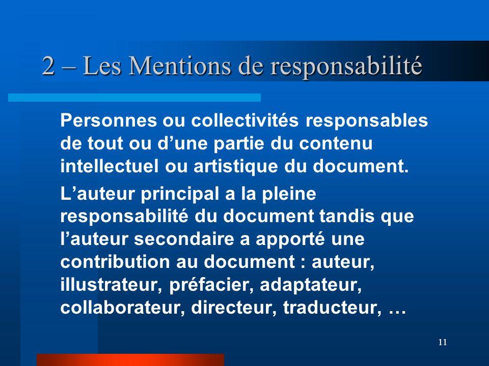 11 2 – Les Mentions de responsabilité Personnes ou collectivités responsables de tout ou dune partie du contenu intellectuel ou artistique du document