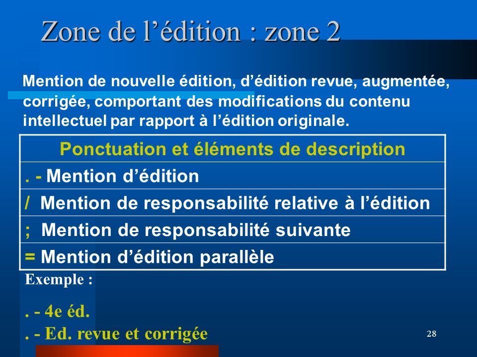 28 Zone de lédition : zone 2 Mention de nouvelle édition, dédition revue, augmentée, corrigée, comportant des modifications du contenu intellectuel pa