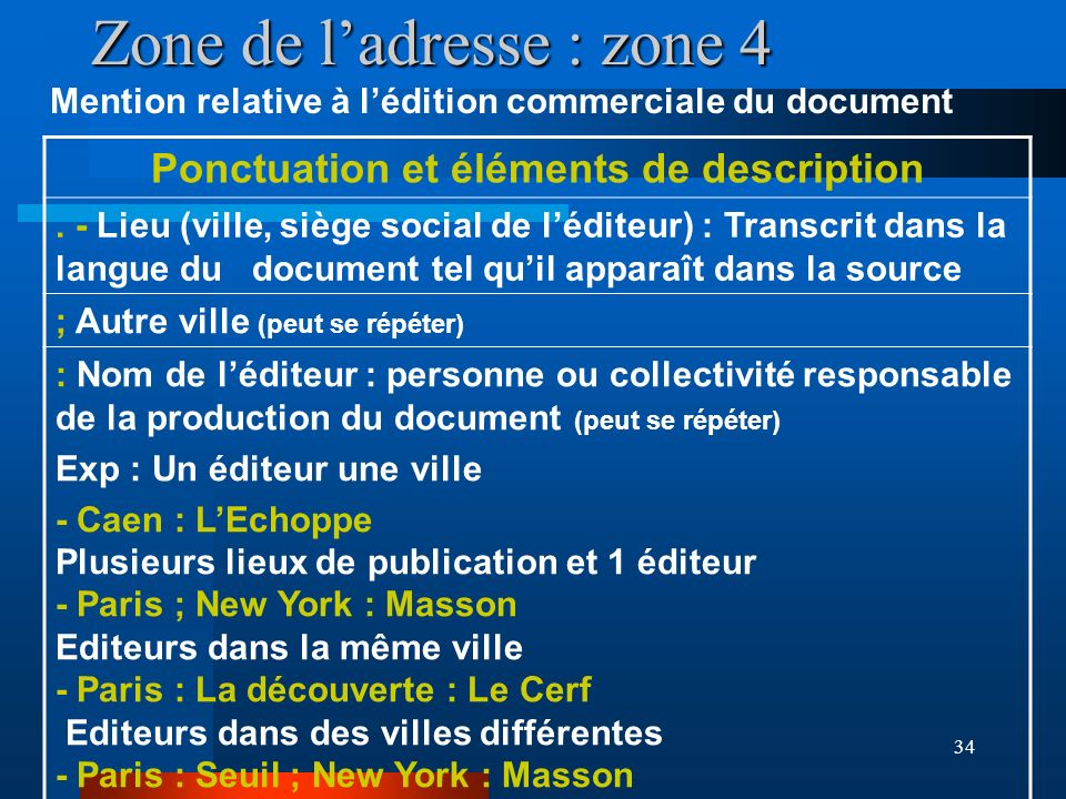 34 Zone de ladresse : zone 4 Mention relative à lédition commerciale du document Ponctuation et éléments de description. - Lieu (ville, siège social d