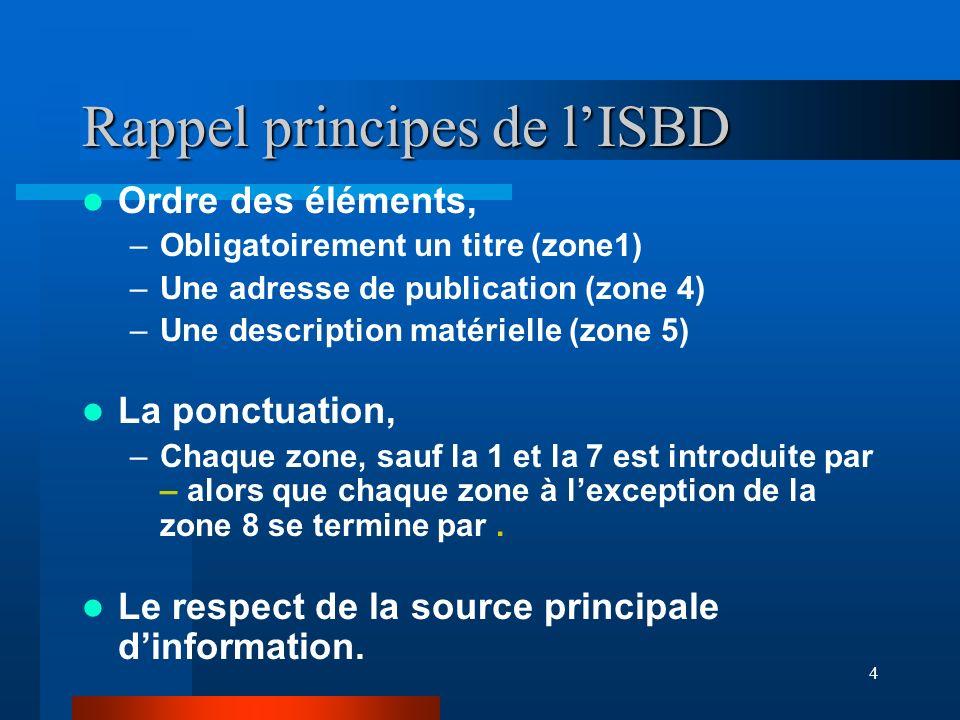 4 Rappel principes de lISBD Ordre des éléments, –Obligatoirement un titre (zone1) –Une adresse de publication (zone 4) –Une description matérielle (zo
