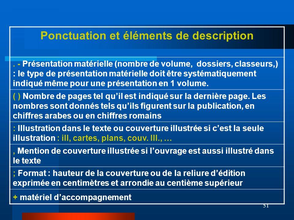 51 Ponctuation et éléments de description. - Présentation matérielle (nombre de volume, dossiers, classeurs,) : le type de présentation matérielle doi