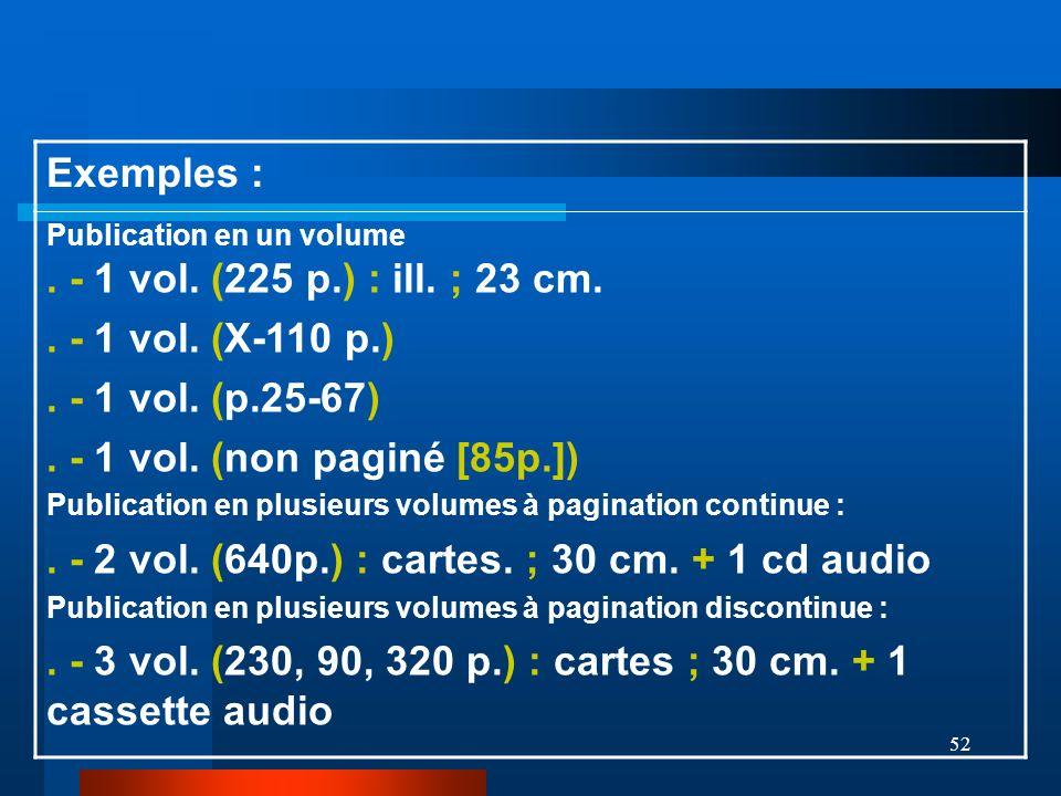 52 Exemples : Publication en un volume. - 1 vol. (225 p.) : ill. ; 23 cm.. - 1 vol. (X-110 p.). - 1 vol. (p.25-67). - 1 vol. (non paginé [85p.]) Publi