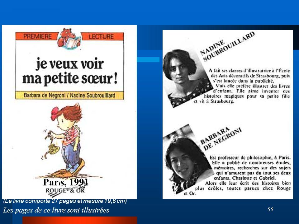 55 (Le livre comporte 27 pages et mesure 19,8 cm) Les pages de ce livre sont illustrées Par i s, 1991