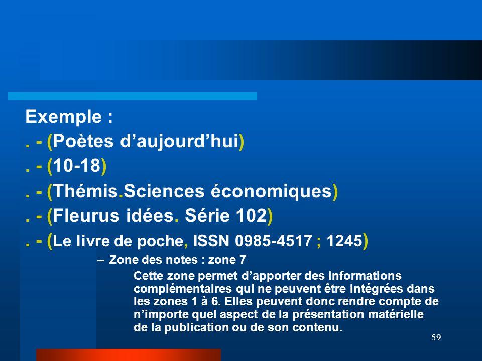 59 Exemple :. - (Poètes daujourdhui). - (10-18). - (Thémis.Sciences économiques). - (Fleurus idées. Série 102). - ( Le livre de poche, ISSN 0985-4517