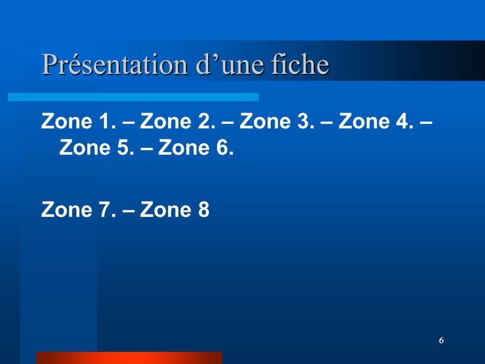 6 Présentation dune fiche Zone 1. – Zone 2. – Zone 3. – Zone 4. – Zone 5. – Zone 6. Zone 7. – Zone 8