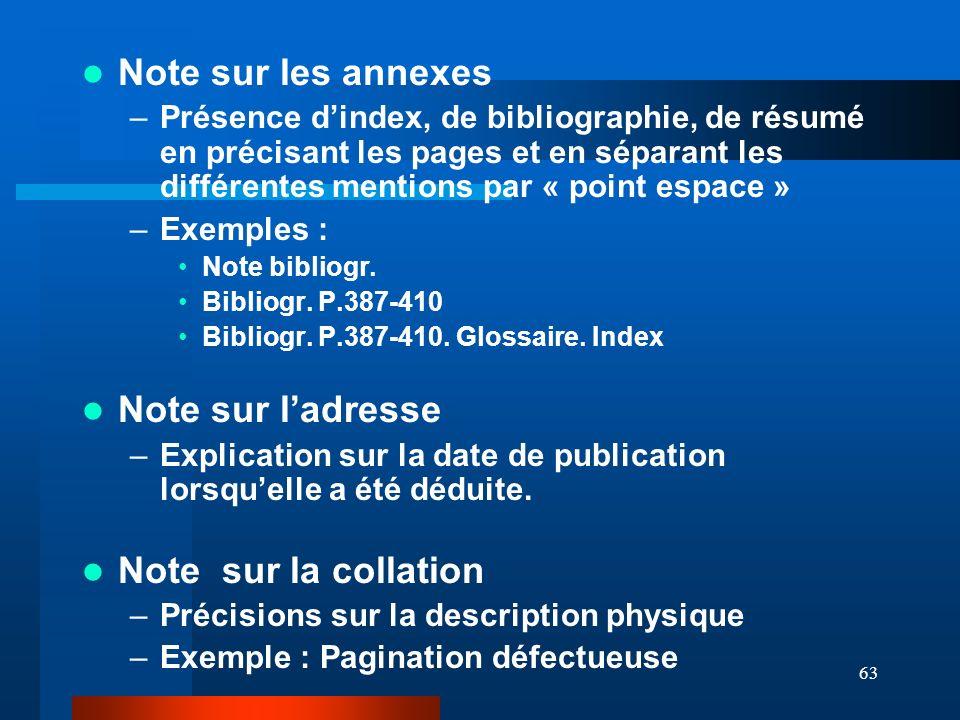 63 Note sur les annexes –Présence dindex, de bibliographie, de résumé en précisant les pages et en séparant les différentes mentions par « point espac