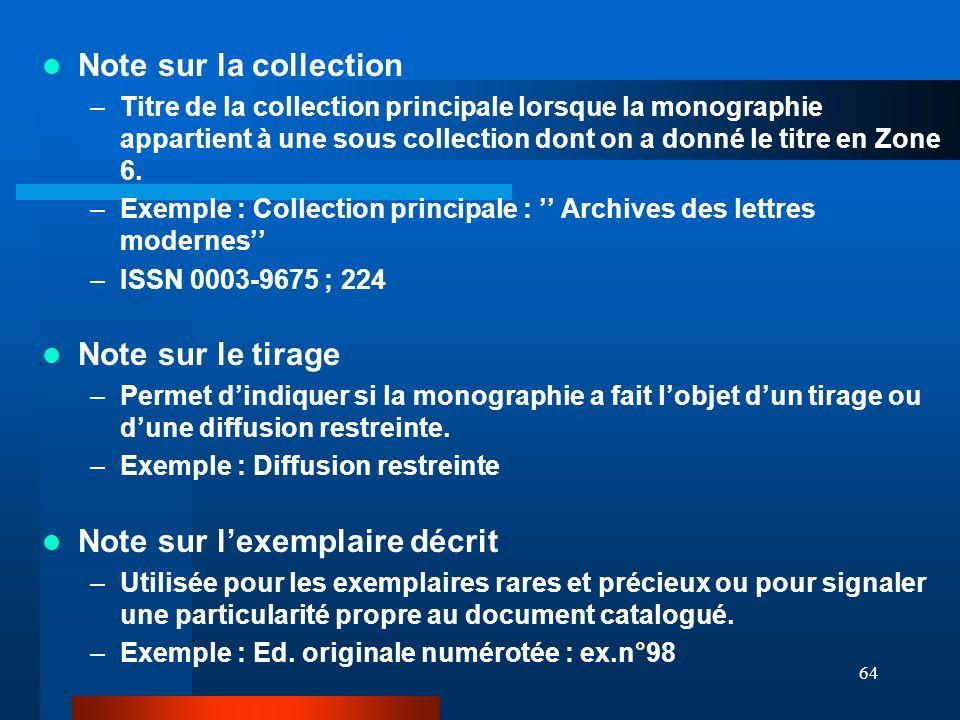 64 Note sur la collection –Titre de la collection principale lorsque la monographie appartient à une sous collection dont on a donné le titre en Zone