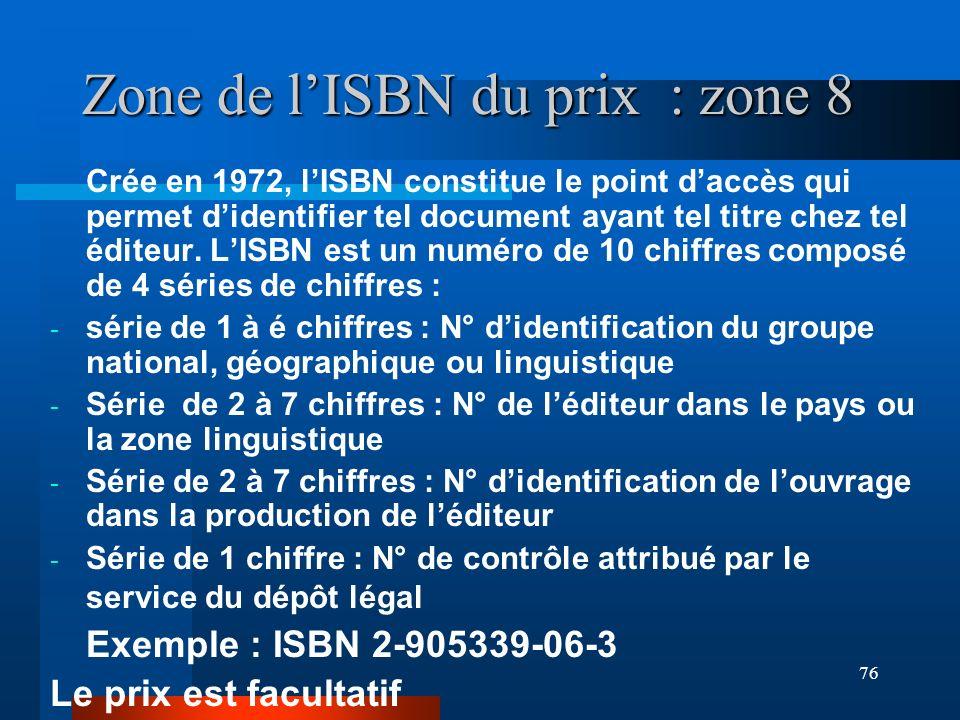 76 Zone de lISBN du prix : zone 8 Crée en 1972, lISBN constitue le point daccès qui permet didentifier tel document ayant tel titre chez tel éditeur.