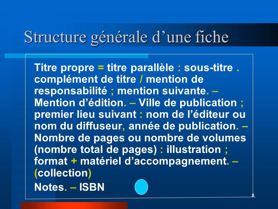 8 Structure générale dune fiche Titre propre = titre parallèle : sous-titre. complément de titre / mention de responsabilité ; mention suivante. – Men