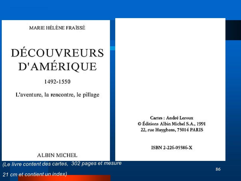 86 (Le livre content des cartes, 302 pages et mesure 21 cm et contient un index)