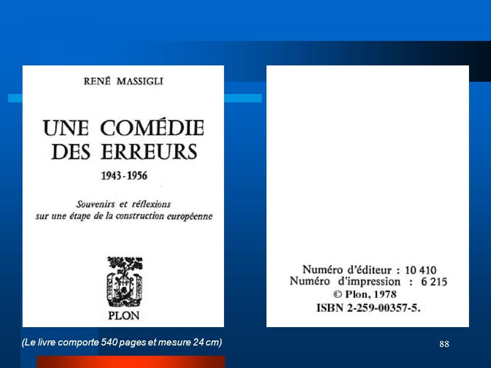 88 (Le livre comporte 540 pages et mesure 24 cm)