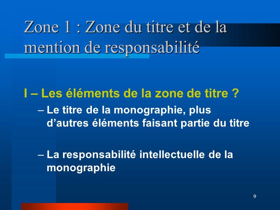9 Zone 1 : Zone du titre et de la mention de responsabilité I – Les éléments de la zone de titre ? –Le titre de la monographie, plus dautres éléments