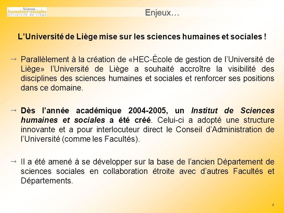 2 Enjeux… LUniversité de Liège mise sur les sciences humaines et sociales .