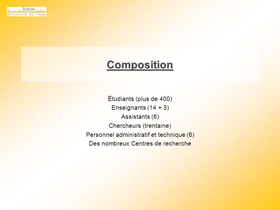 Composition Étudiants (plus de 400) Enseignants (14 + 3) Assistants (6) Chercheurs (trentaine) Personnel administratif et technique (6) Des nombreux Centres de recherche