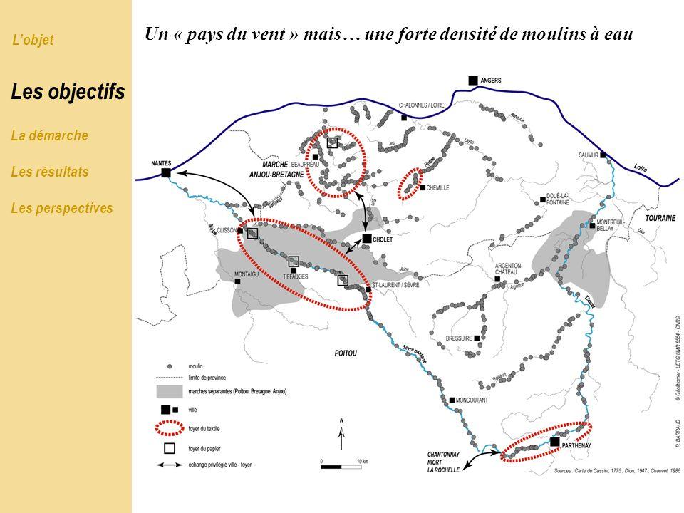 Lobjet Les objectifs La démarche Les résultats Les perspectives Un « pays du vent » mais… une forte densité de moulins à eau