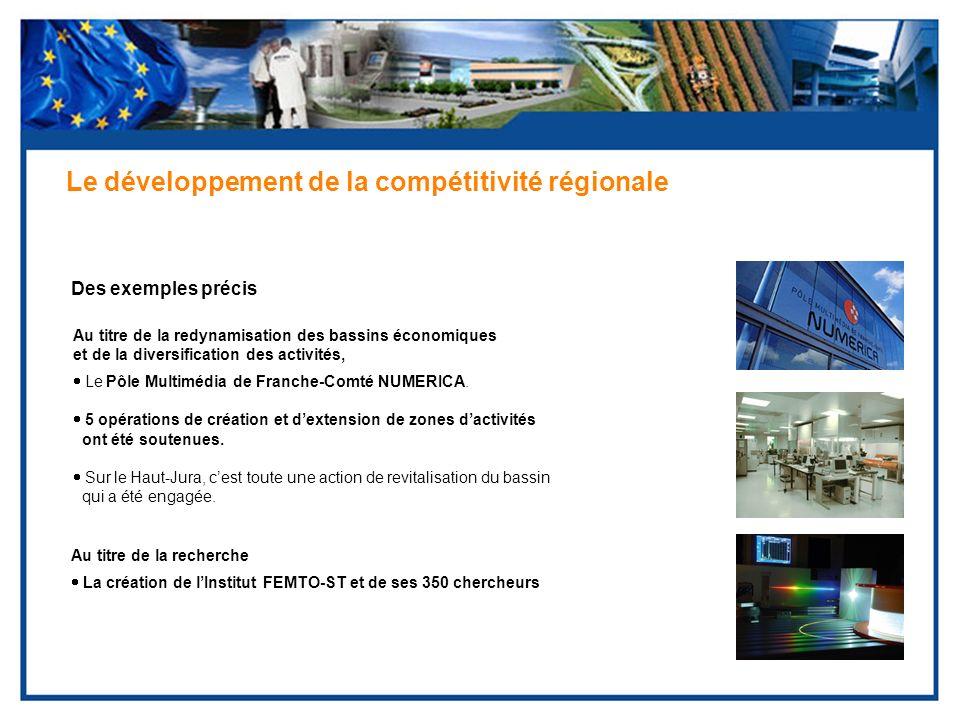 Des exemples précis Le développement de la compétitivité régionale Au titre de la redynamisation des bassins économiques et de la diversification des