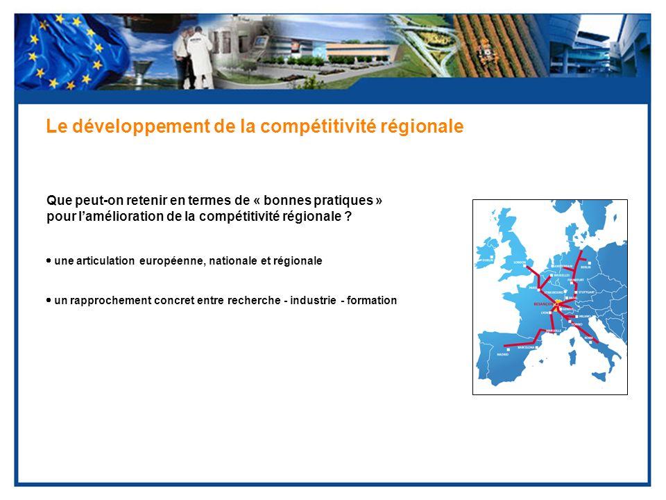 Que peut-on retenir en termes de « bonnes pratiques » pour lamélioration de la compétitivité régionale ? Le développement de la compétitivité régional