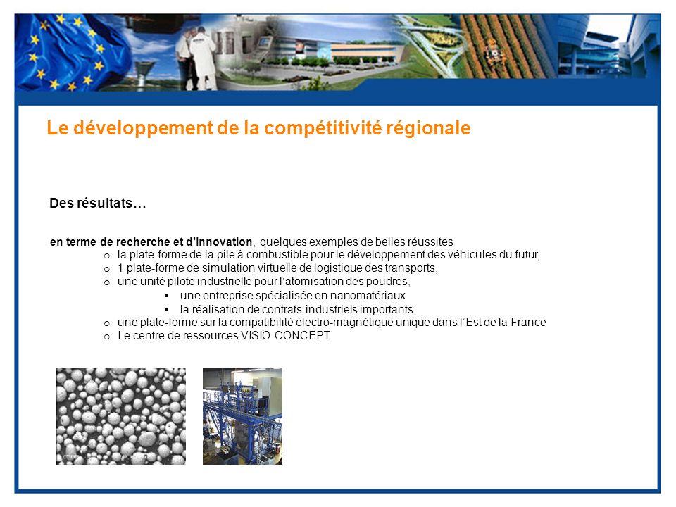 Des résultats… Le développement de la compétitivité régionale en terme de recherche et dinnovation, quelques exemples de belles réussites o la plate-f