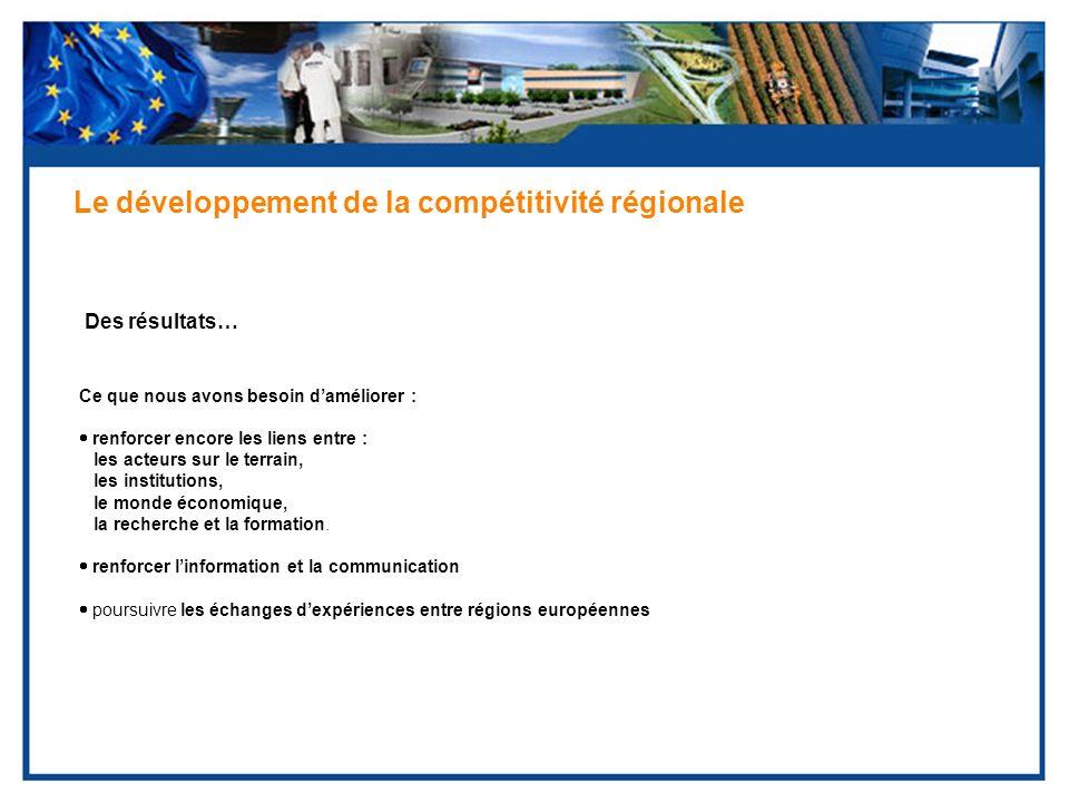 Des résultats… Le développement de la compétitivité régionale Ce que nous avons besoin daméliorer : renforcer encore les liens entre : les acteurs sur