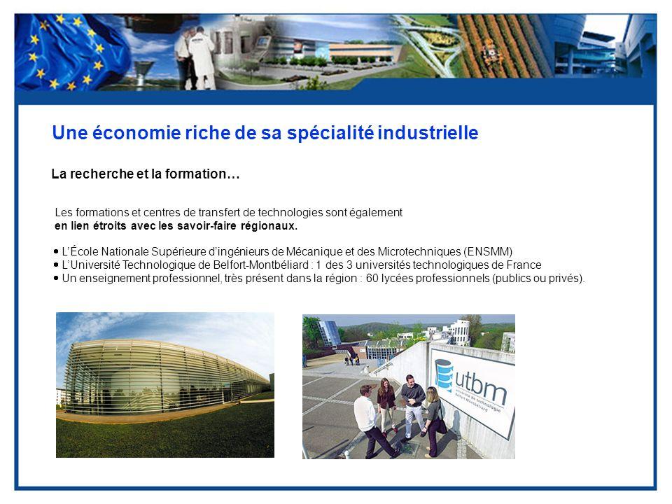 Une économie riche de sa spécialité industrielle La recherche et la formation… Les formations et centres de transfert de technologies sont également e