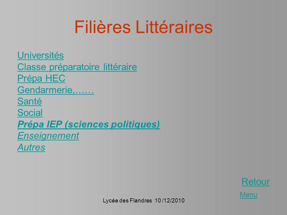 Lycée des Flandres 10 /12/2010 Filières Littéraires Universités Classe préparatoire littéraire Prépa HEC Gendarmerie,…… Santé Social Prépa IEP (scienc
