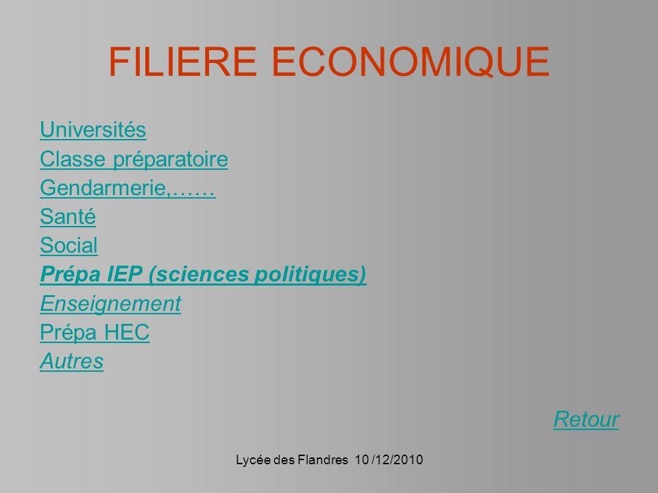 Lycée des Flandres 10 /12/2010 FILIERE ECONOMIQUE Universités Classe préparatoire Gendarmerie,…… Santé Social Prépa IEP (sciences politiques) Enseigne