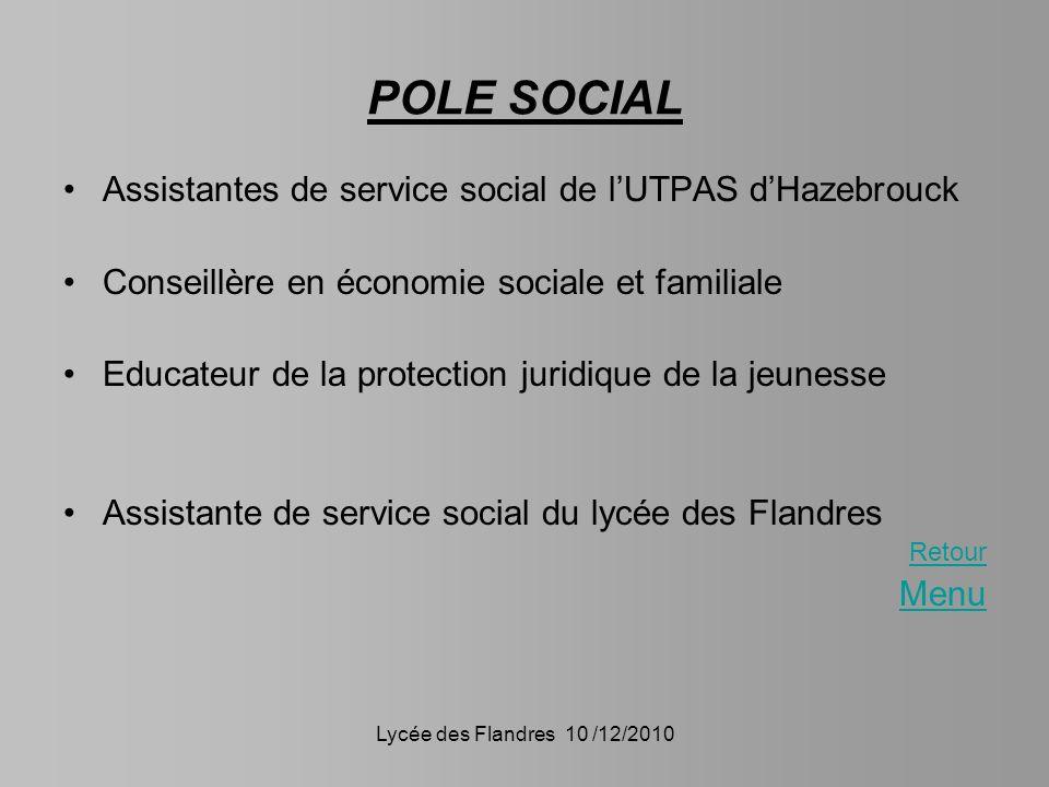 Lycée des Flandres 10 /12/2010 POLE SOCIAL Assistantes de service social de lUTPAS dHazebrouck Conseillère en économie sociale et familiale Educateur