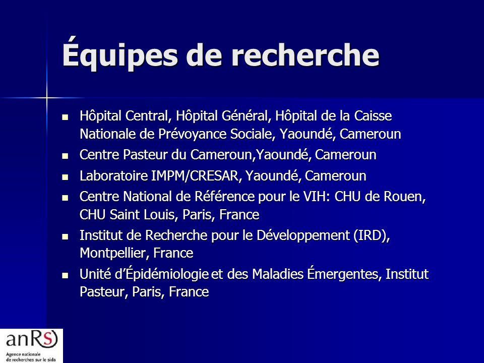 Équipes de recherche Hôpital Central, Hôpital Général, Hôpital de la Caisse Nationale de Prévoyance Sociale, Yaoundé, Cameroun Hôpital Central, Hôpita