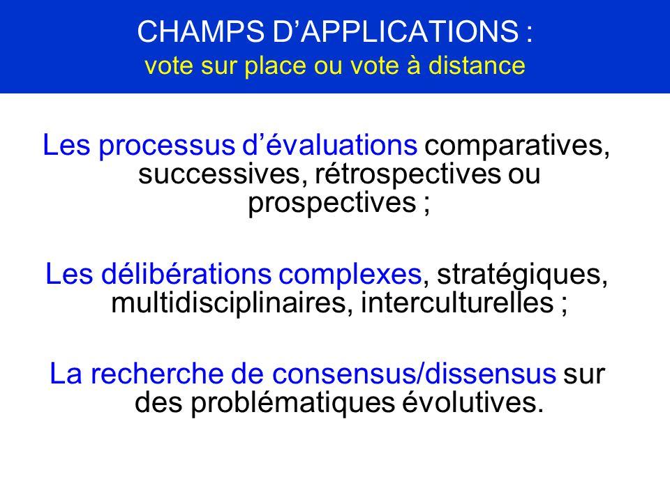 CHAMPS DAPPLICATIONS : vote sur place ou vote à distance Les processus dévaluations comparatives, successives, rétrospectives ou prospectives ; Les dé