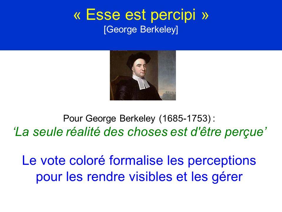 « Esse est percipi » [George Berkeley] Pour George Berkeley (1685-1753) : La seule réalité des choses est d'être perçue Le vote coloré formalise les p
