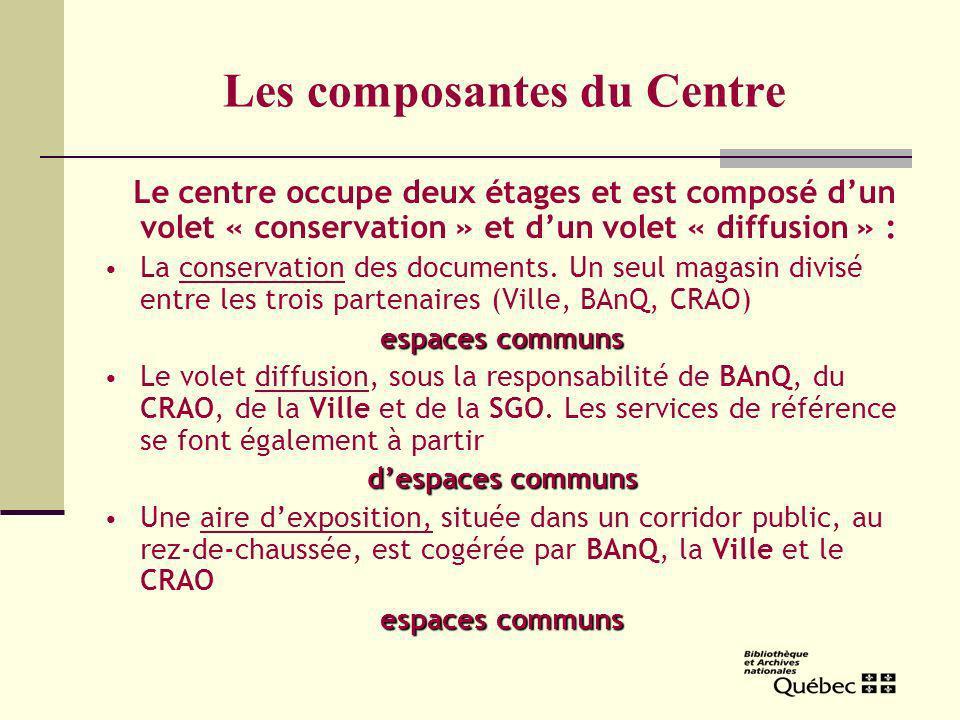 Les composantes du Centre Le centre occupe deux étages et est composé dun volet « conservation » et dun volet « diffusion » : La conservation des documents.